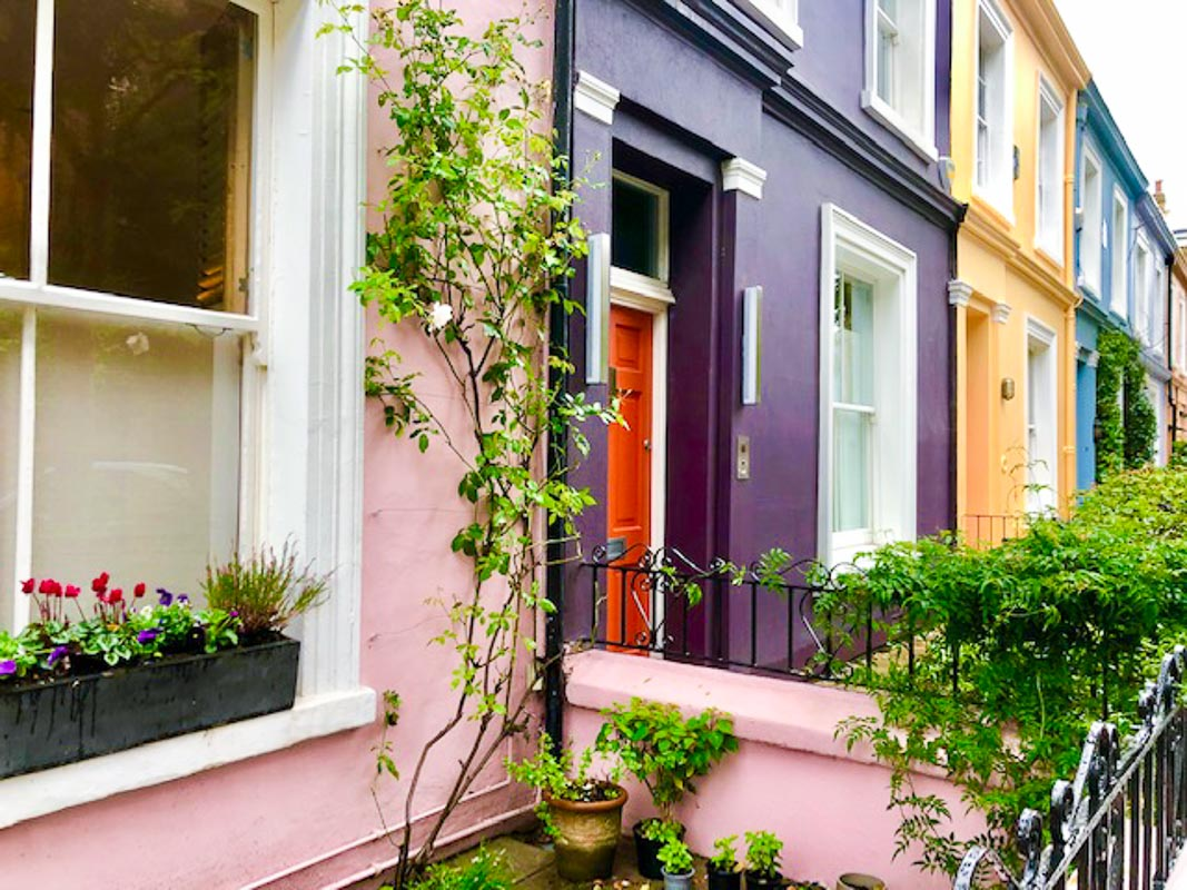 Notting Hill London brighly coloured houses