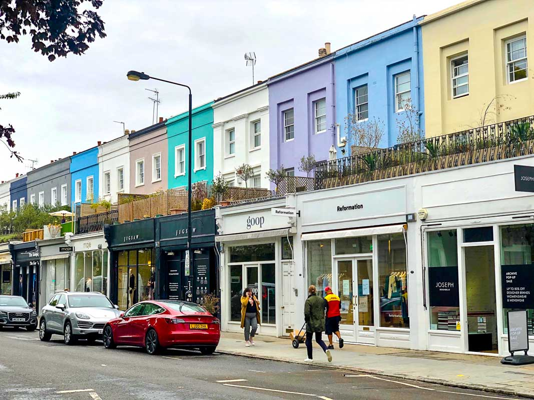 Notting Hill London colourful houses on westbourne