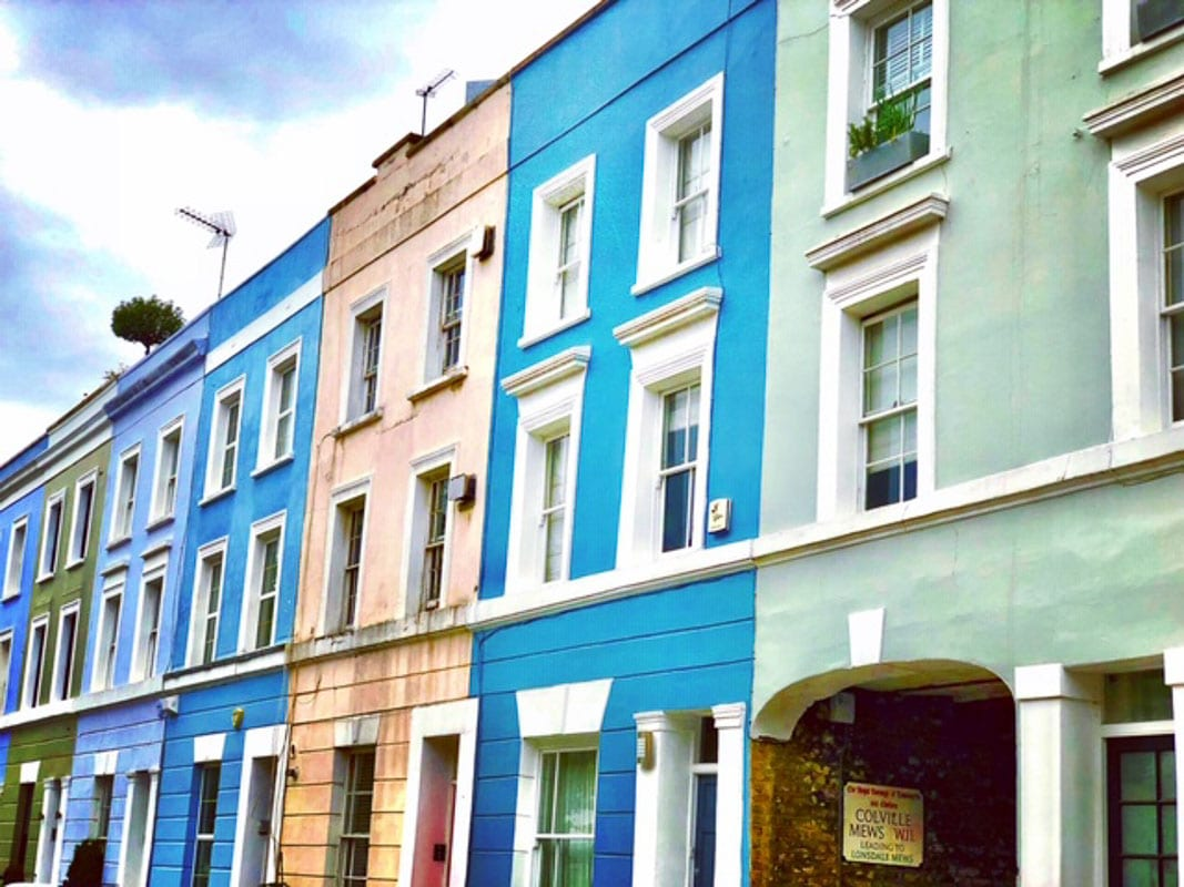 Notting Hill London colourful houses
