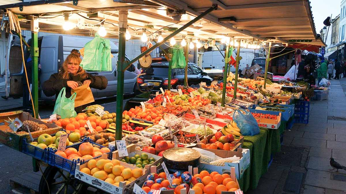 Notting Hill London portobello road fresh produce stall