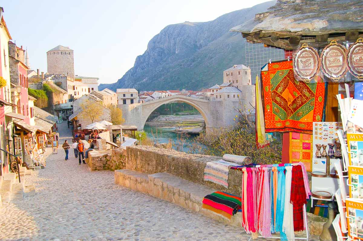 mostar shops and bridge bosnia