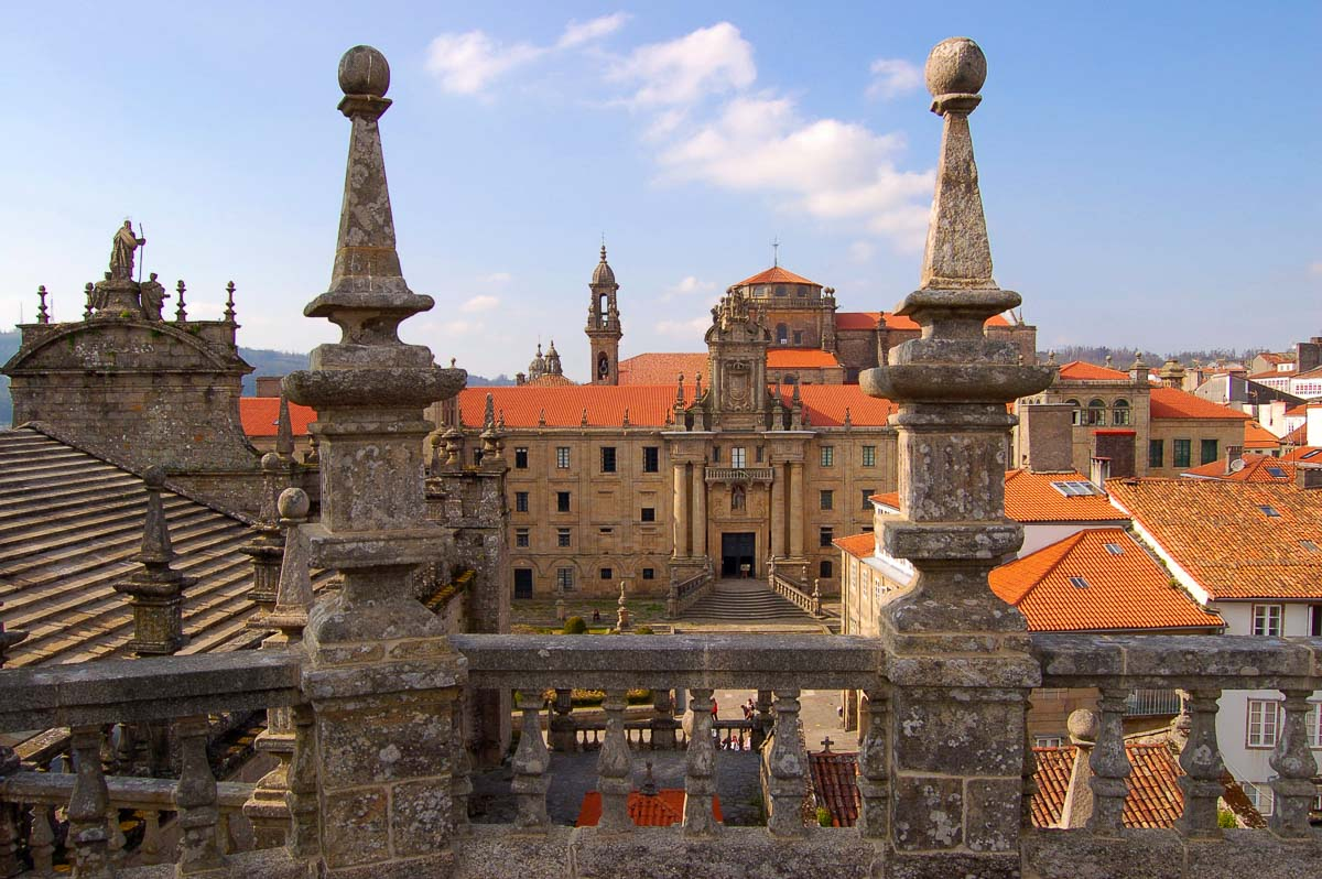 santiago de compostela view of cathedral from hotel balcony