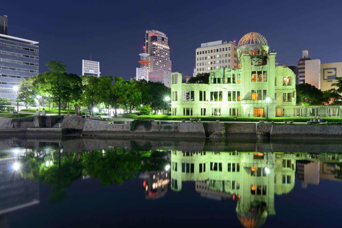 Japan Hiroshima peace park at night