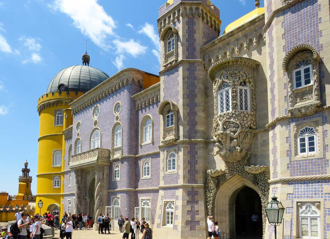 Palace of Pena Sintra Portugal purple and yellow