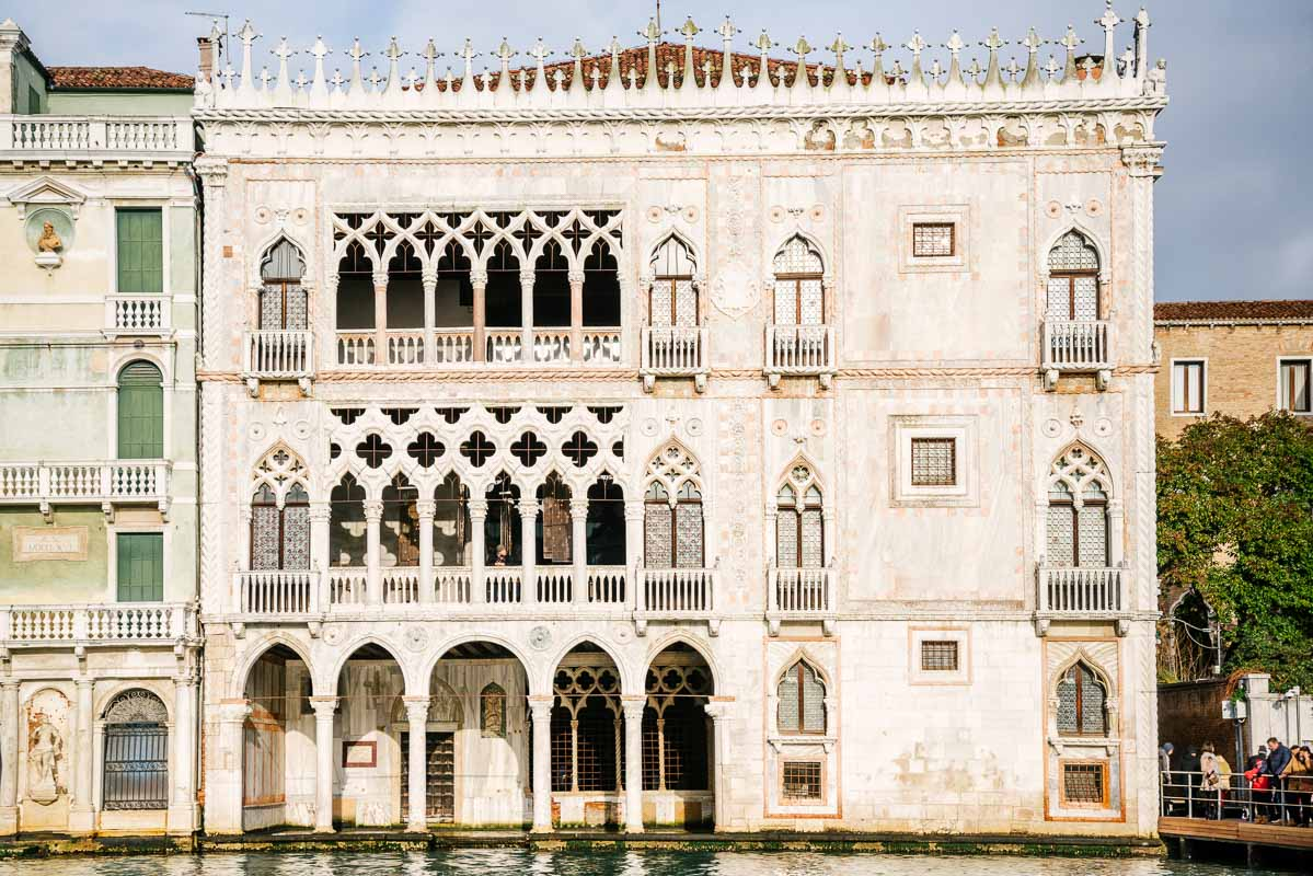 Facade of the Ca 'd'Oro palace in Gothic style seen from the Grand Canal in Venice, Italy