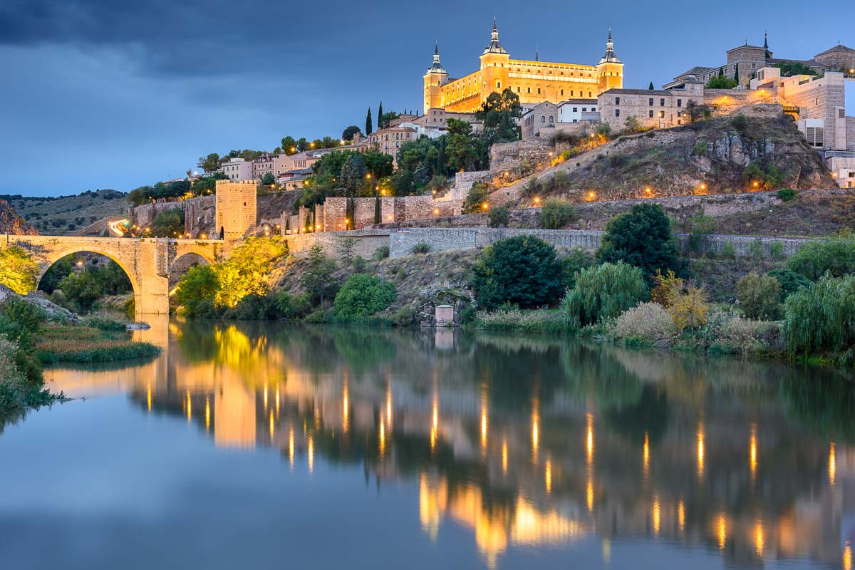 Toledo, Spain old town skyline at the Alcazar on the River.