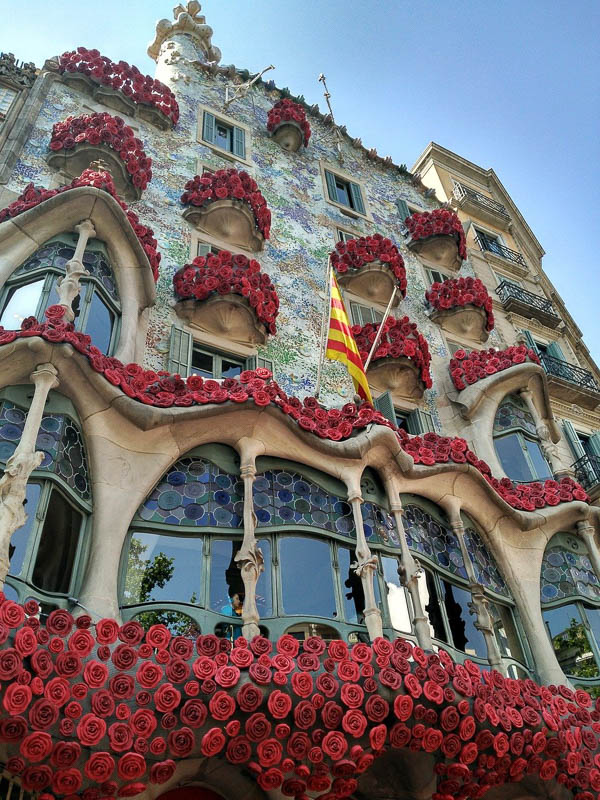 Casa Battlo with red flowers