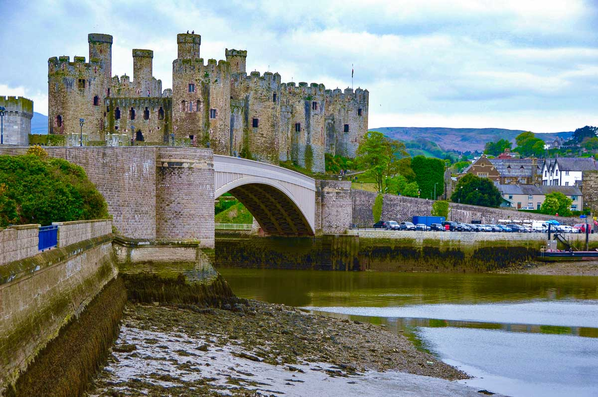 Conwy Castle Wales seen from before suspension bridge