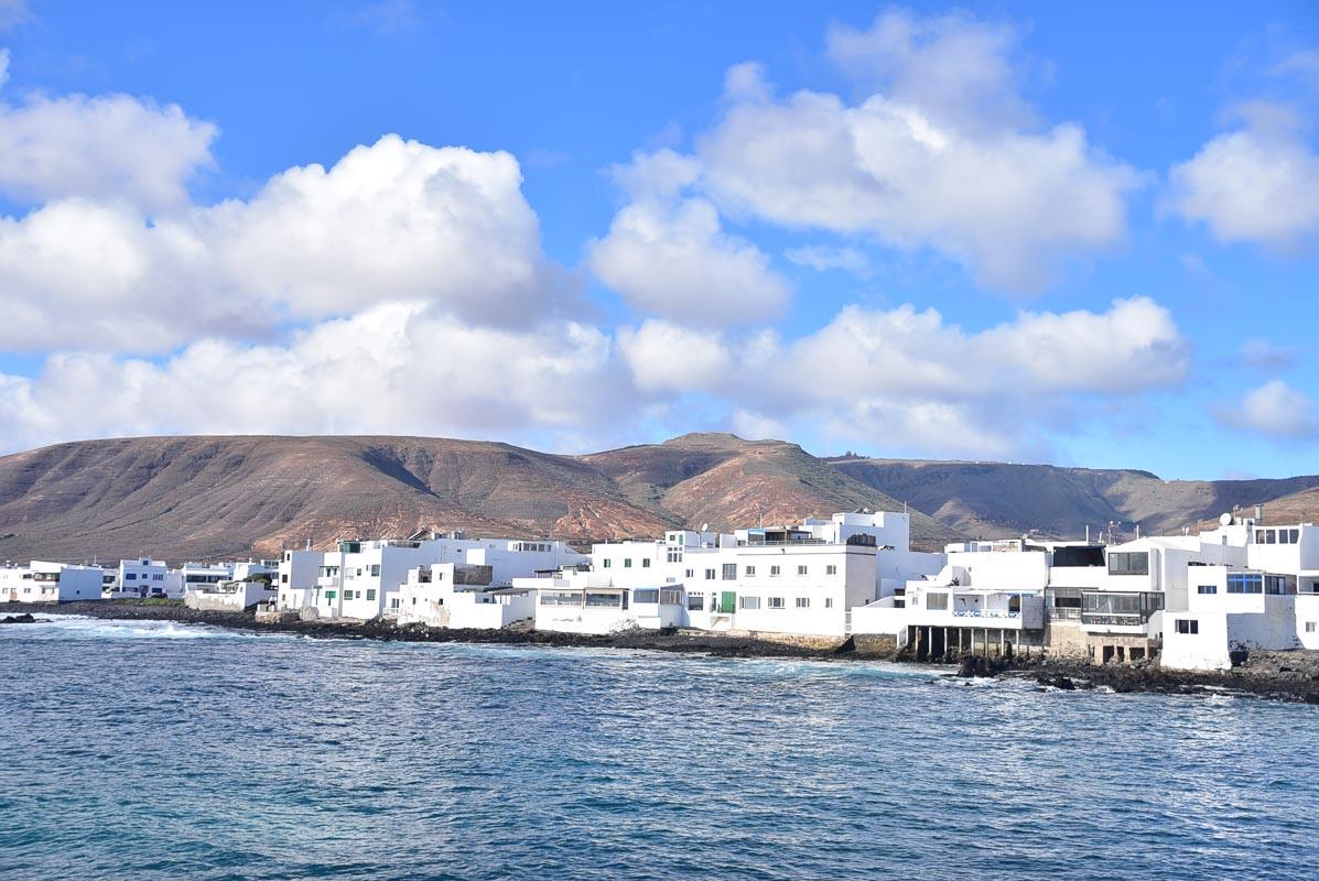 Lanzarote Arrieta town seen from the water