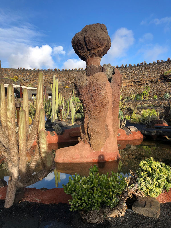 Lanzarote cactus garden with sculpture