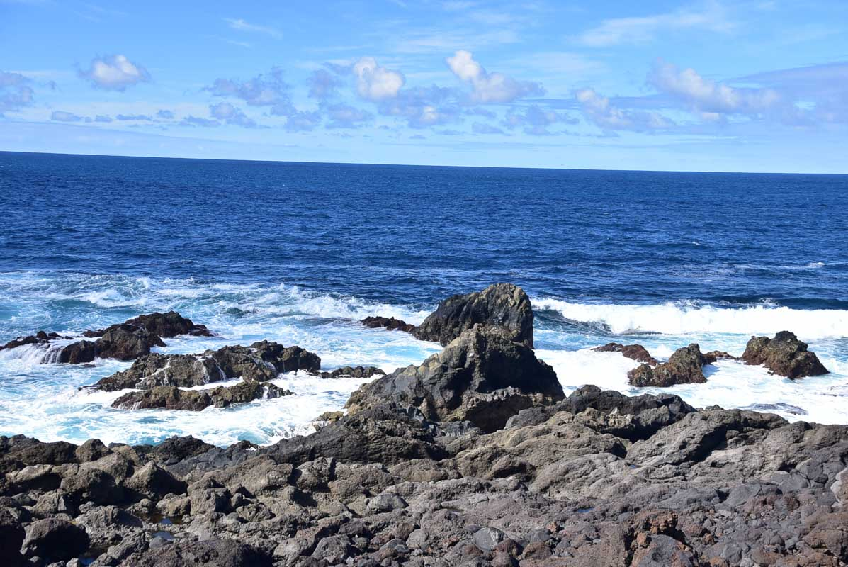 Lanzarote Los Hervideros cliff tops and sea view in the south west