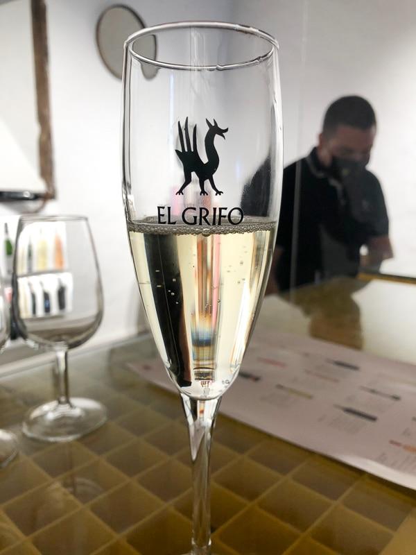 Lanzarote el grifo winery glass of cava