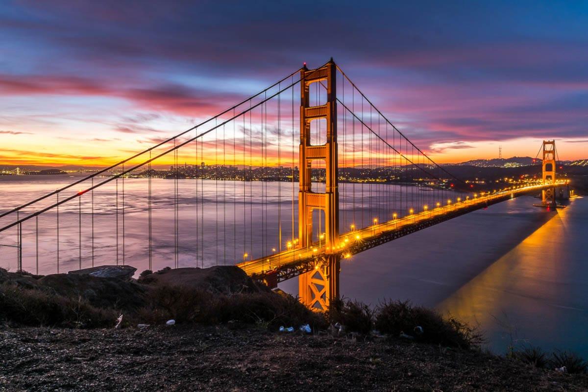 golden gate bridge san francisco at sunset