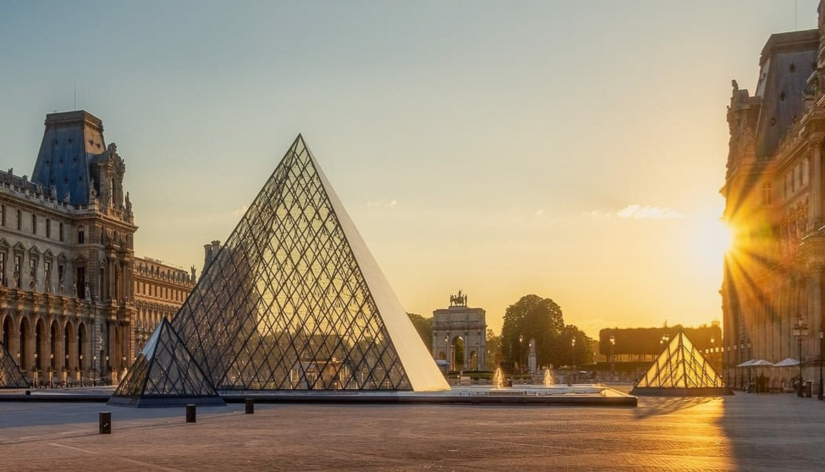 Glass pyramid of the Louvre at Sunrise