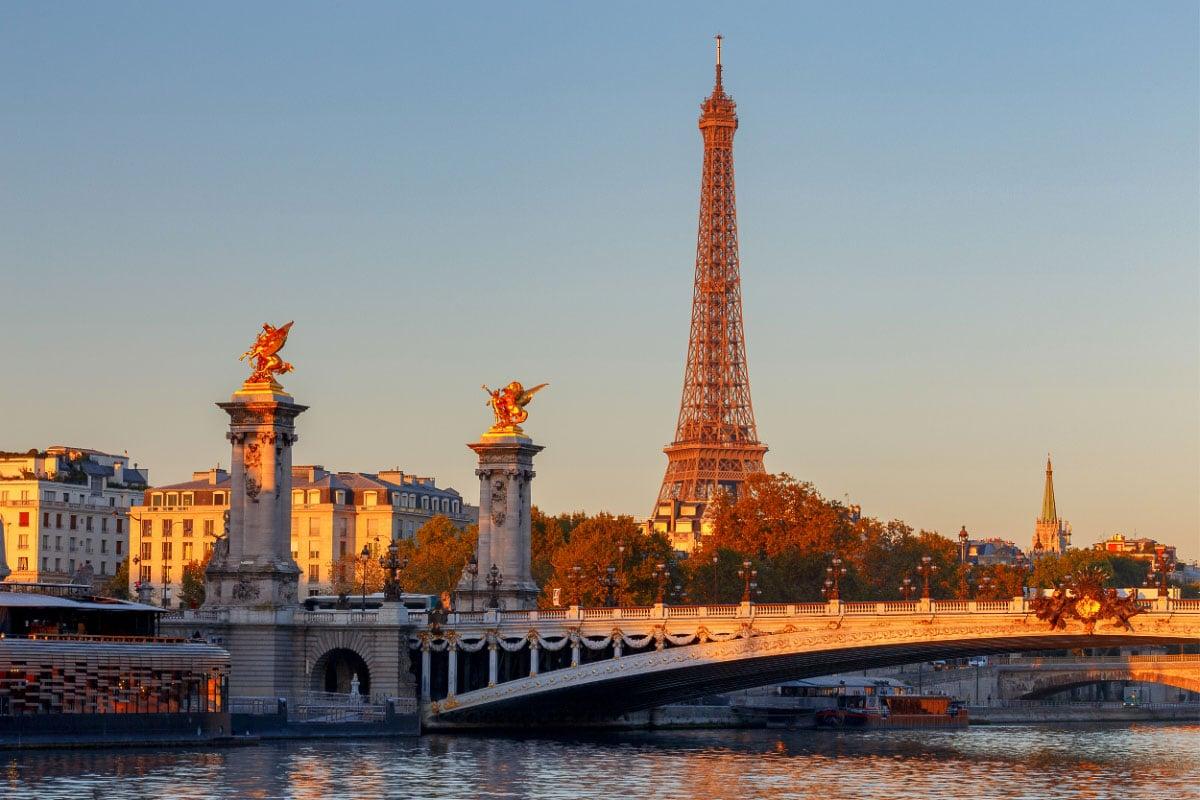 Pont Alexandre III Bridge at sunrise in paris