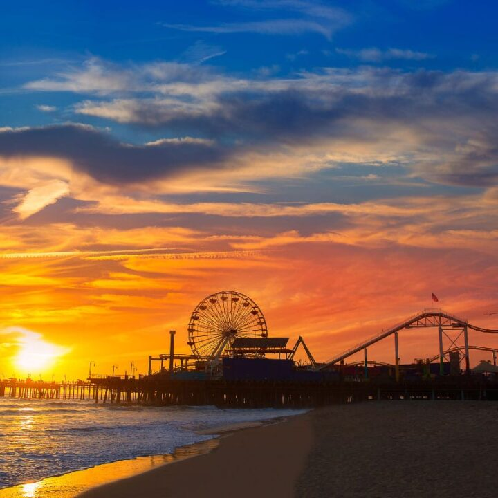 santa monica pier sunset in california