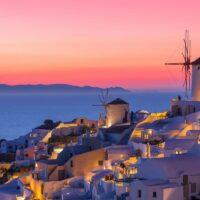santorini sunset with windmill