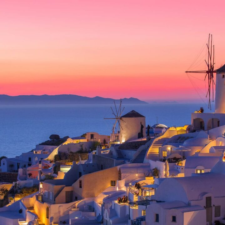 santorini sunset with windmill