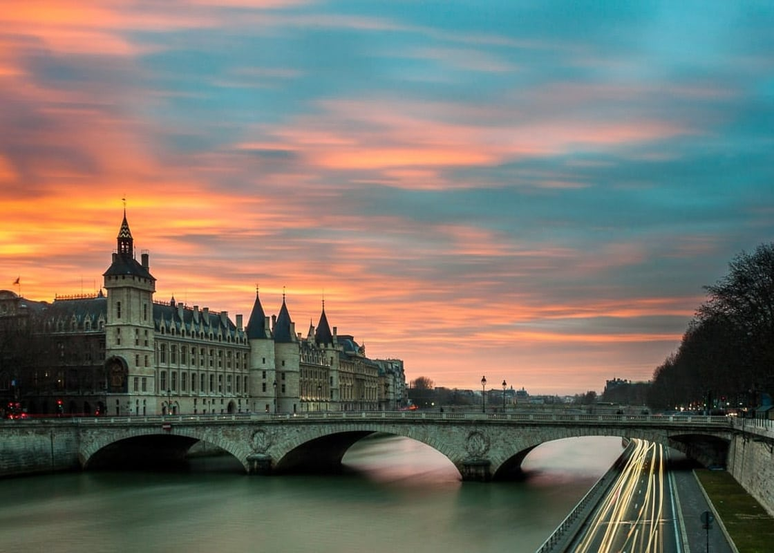 Sunrise in Paris over the Seine River