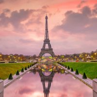sunrise in paris from the trocadero fountains