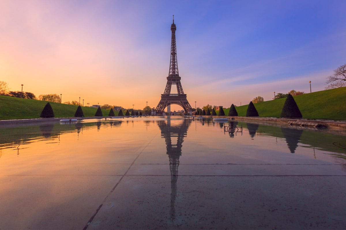 Sunrise in Paris from Trocadero Fountains