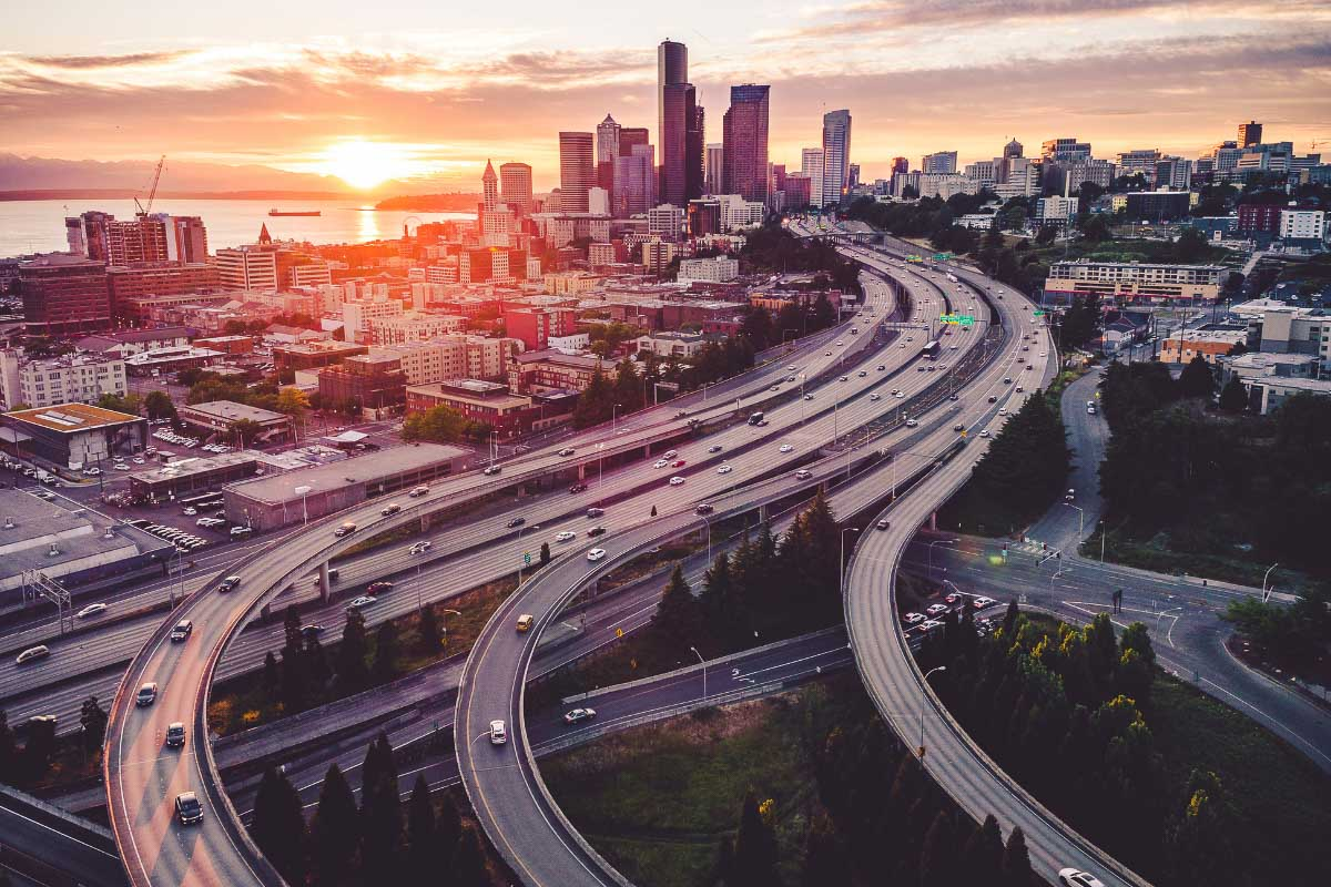 sunset in seattle over key roads