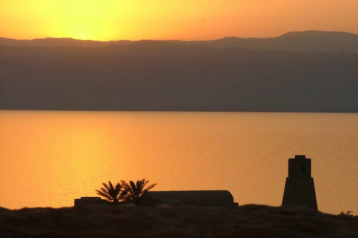 sunset over the dead sea
