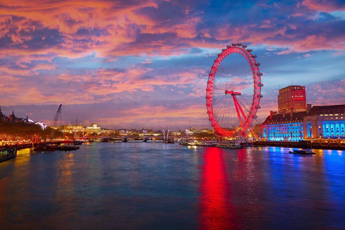 London Eye lit up and the thames at sunset