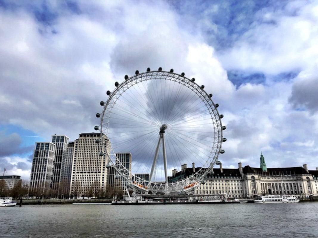 _London - London Eye and south bank during London Lockdown