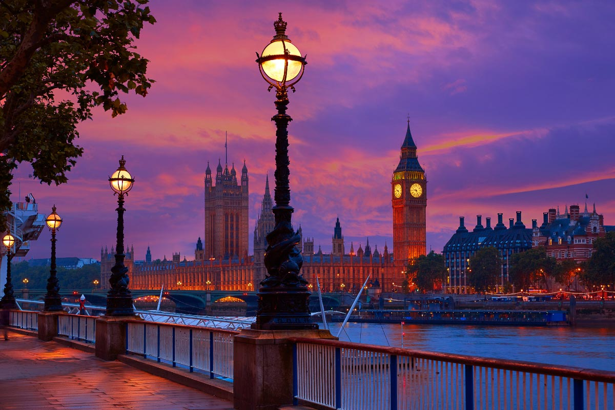 London sunset big ben and westminster