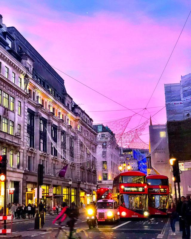 Sunset on Oxford Street London