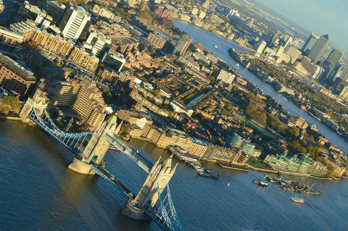 The thames and london at sunset from the air