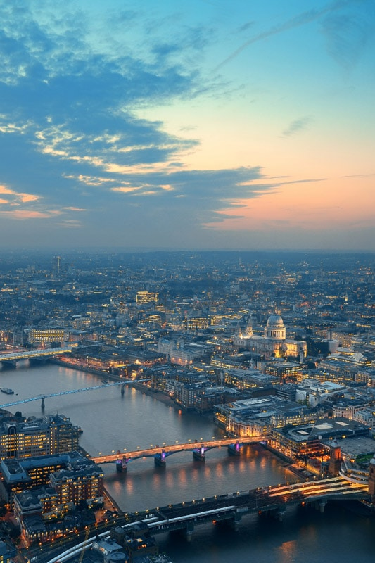 aerial sunrise in london view
