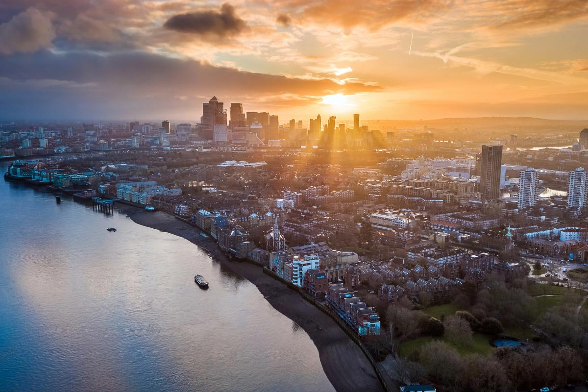 aerial sunrise in london