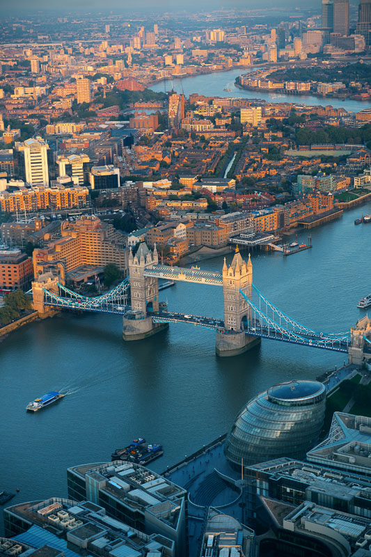aerial view of tower bridge and the thames london sunset