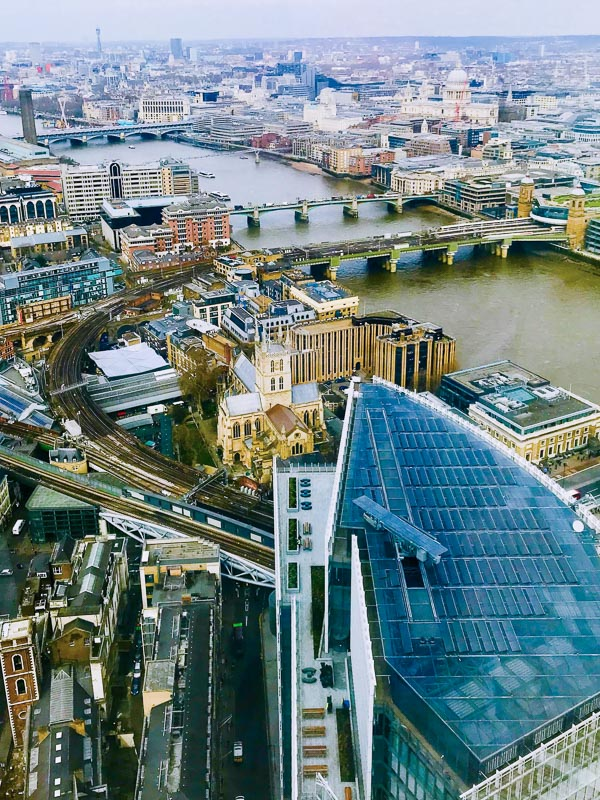 aerial view over london and the thames