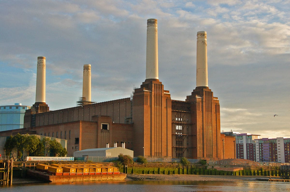 battersea power station from the water