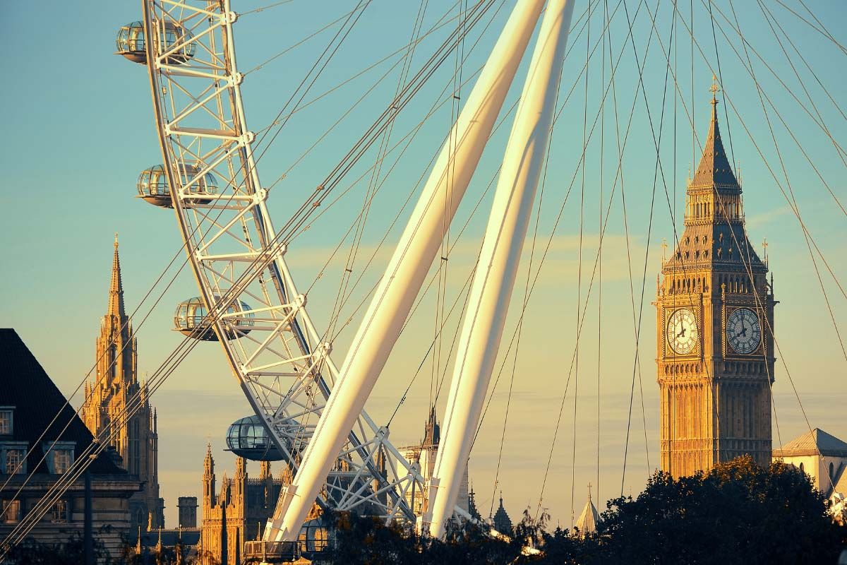 big ben and the london eye at sunset