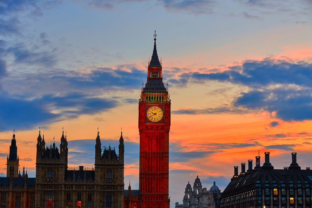 big ben london at sunrise one of the english landmarks