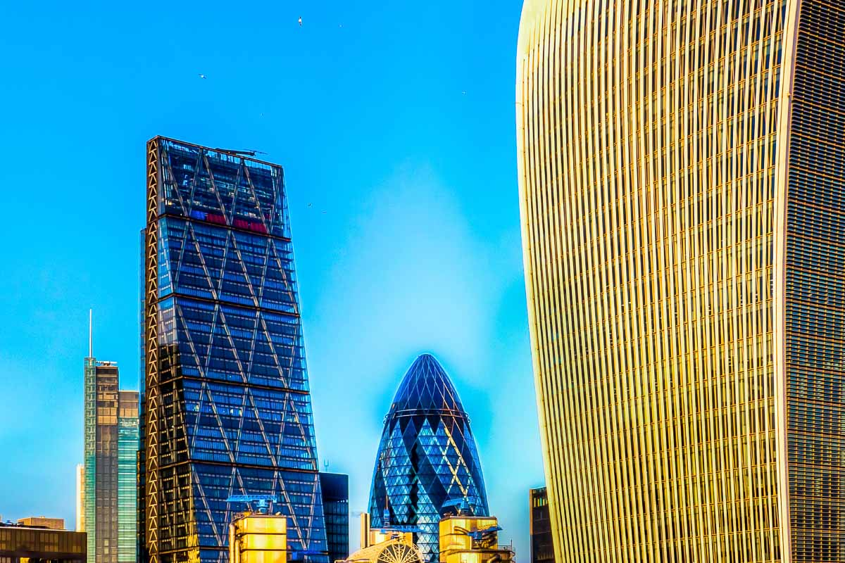 city of london modern buildings at sunset