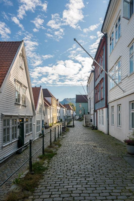 cobblestone street in bergen norway