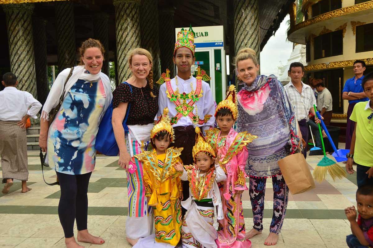 shwedagon pagoda mynamar group of locals and tourists