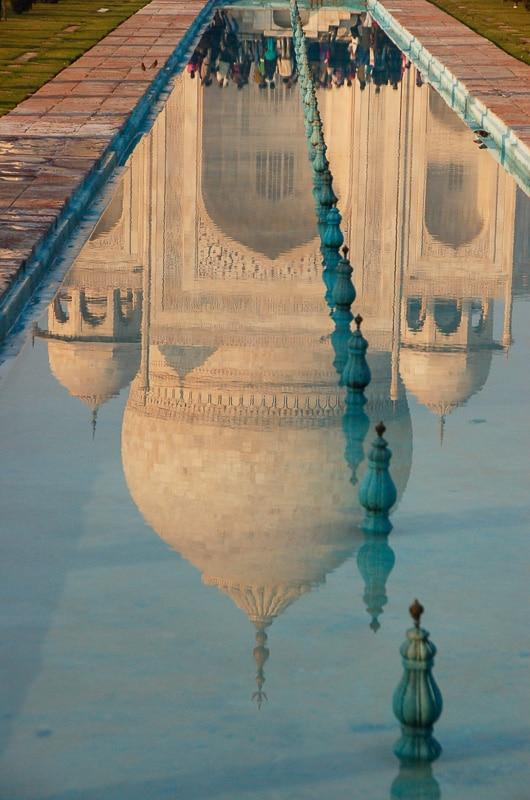 taj mahal india reflecting pool portrait