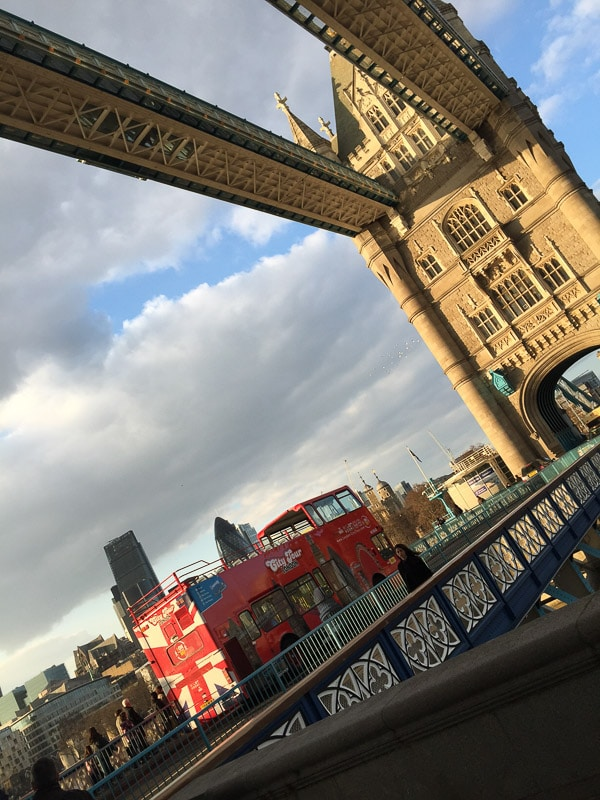 tower bridge with red bus one of the bridges in london