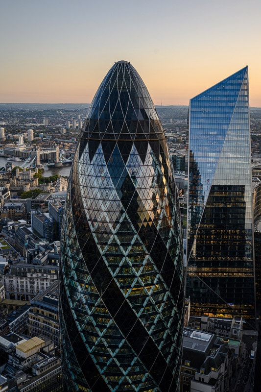 view of the Gherkin from Heron Tower