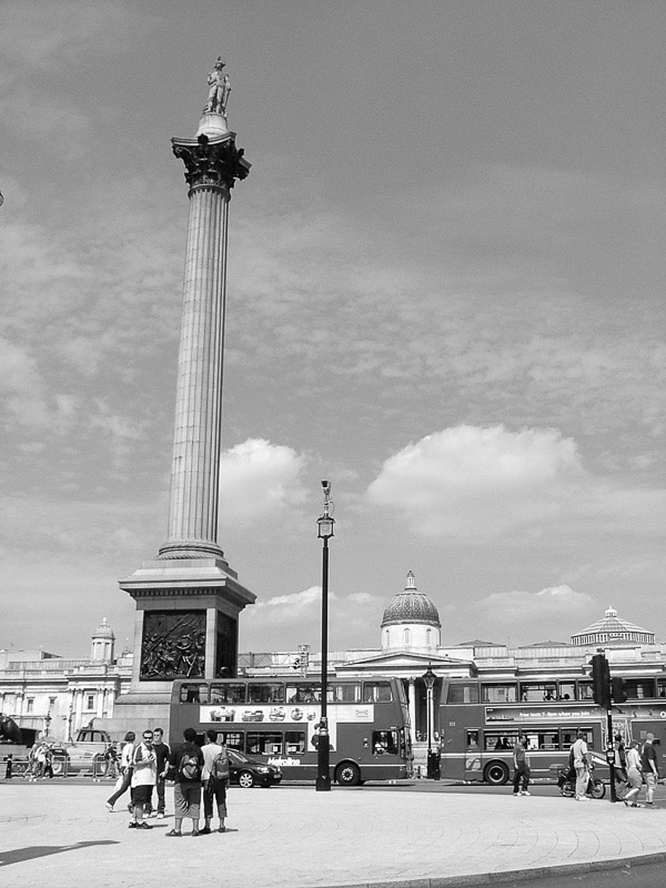 Nelson's Column London in Black and White