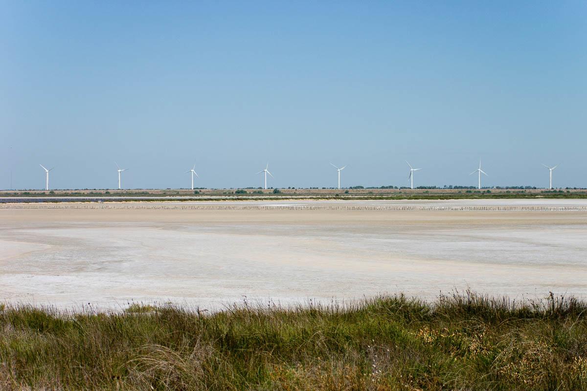The Camargue beach and windmills