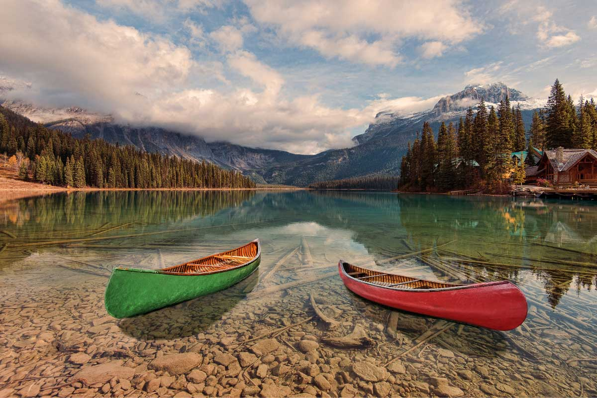 kayaks on emerald lake british columbia