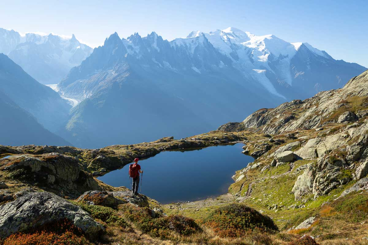mont blanc and lake in france