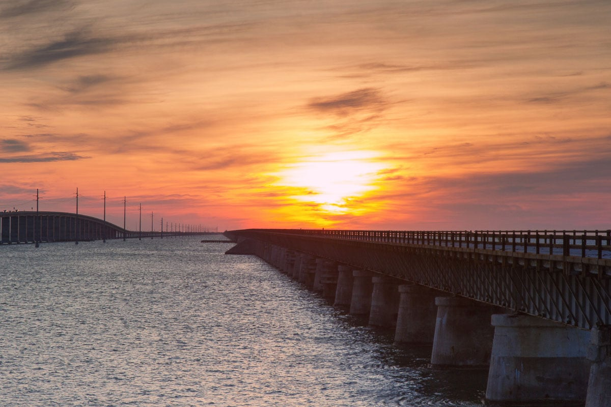 seven mile bridge at sunset